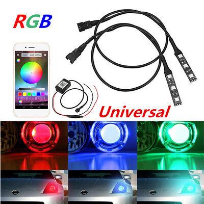 2x 12V RGB LED Auto Scheinwerfer Glühbirnen Nachrüstsatz Universal Bluetooth APP