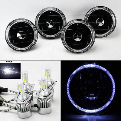 "FOUR 5.75"" 5 3/4 Round Black Glass Wht Halo Headlights w/ 36W LED H4 Bulbs Mercu"