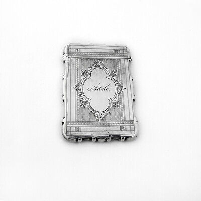 Card Case Engine Turned Decorations Sterling Silver 1870