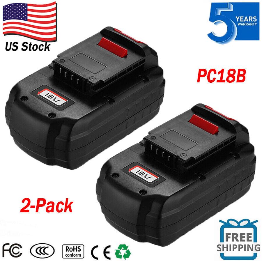 2-Pack New 18V Battery For PORTER-CABLE PC18B PCC489N 18V Co