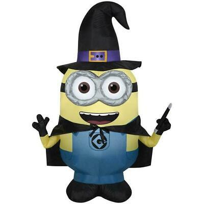 USED Gemmy Halloween 3.5 FT Airblown Inflatable Despicable Me Minion Dave Witch