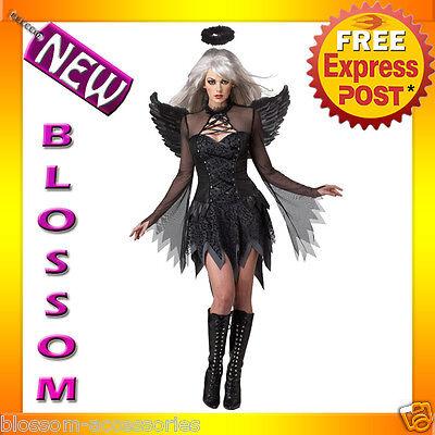 (C751 Deluxe Fallen Angel Dark Gothic Black Halloween Fancy Dress Adult Costume)