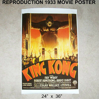 "Original KING KONG 1933 Movie Poster 24"" x 36"" Repro Reproduction Print"