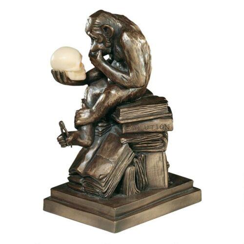 GREAT APE GORILLA THINKER STATUE Darwin Evolution Monkey Sculpture Teacher Art