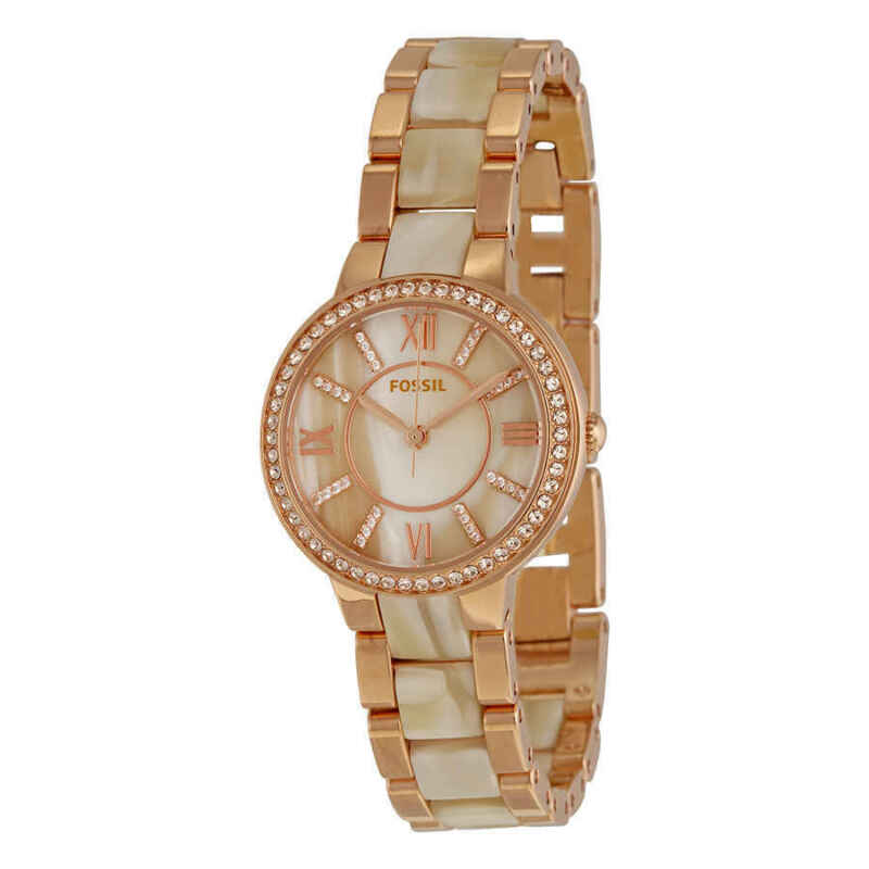 Fossil Virginia Rose Dial Rose Gold-tone and Horn Acetate Ladies Watch ES3716