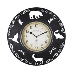 Cabin Pine Lodge Wildlife Round Metal Wall Clock, Rich Black, Modern Rustic -NEW