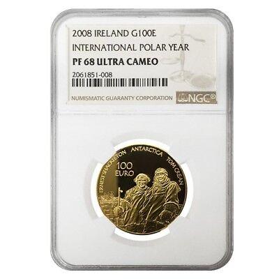 2008 Ireland 1/2 oz 100 Euro International Polar Year Proof Gold Coin NGC PF 68
