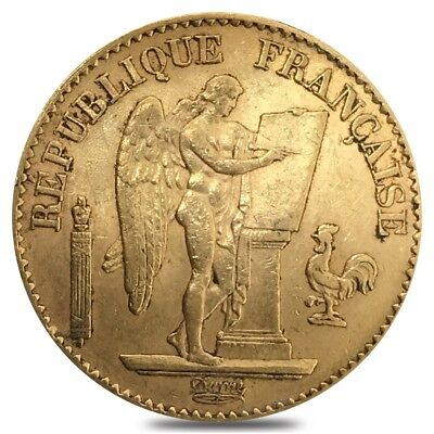 20 Francs French Lucky Angel Gold Coin AGW .1867 oz Avg Circ (Random Year)