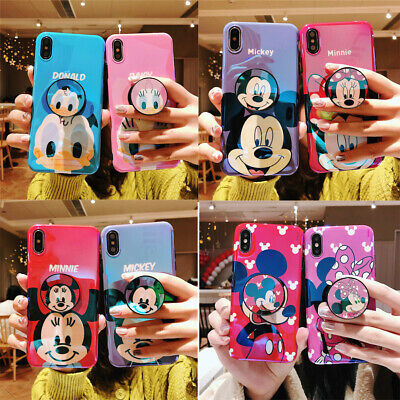 For iPhone X XS Max XR 7 8+ Cartoon disney couple Airbag Stand Holder phone case](Cartoon Couples)