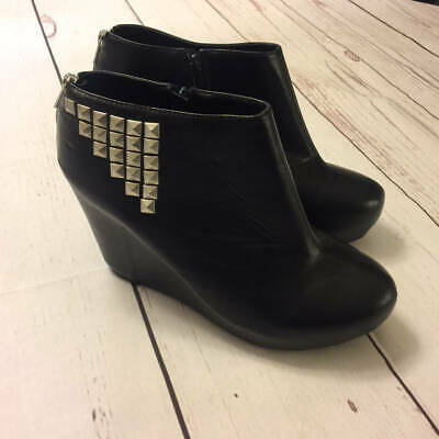 Size 12 Womens Platform Shoes (NWT Torrid Black Platform Wedge Heel Studded Bootie Shoes Womens Size)