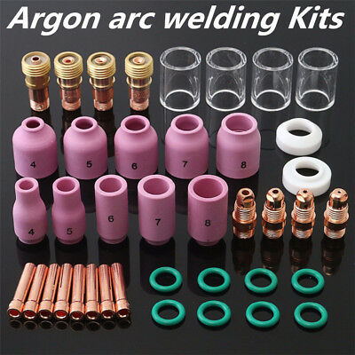 40pcs Tig Welding Torch Stubby Saver Gas Lens Pyrex Cup Kit For Wp-171826