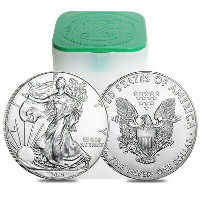 Roll of 20 - 2019 1 oz Silver American Eagle $1 Coin BU (Lot, Tube of 20) 20 Silver Eagles
