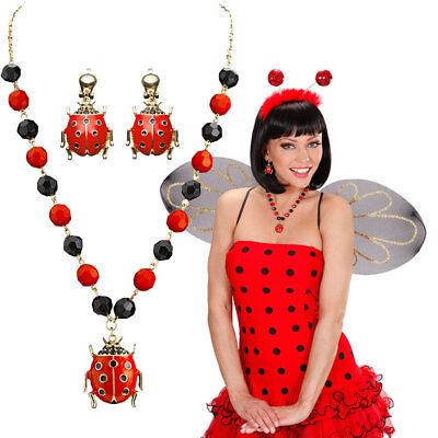 MARIENKÄFER SCHMUCK SET # Ladybug Käfer Kette Ohrringe Damen Kostüm Party - Käfer Kostüm Schmuck