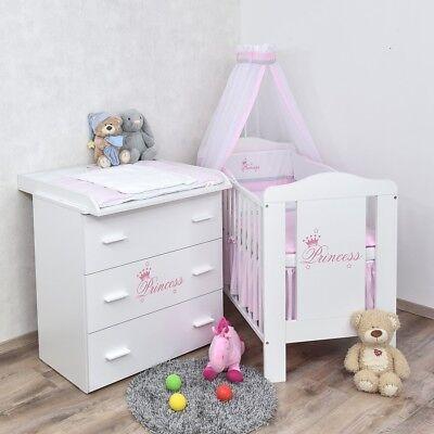 Babyzimmer Prinzessin Babybett Wickelkommode Bettwäsche Set Komplettzimmer