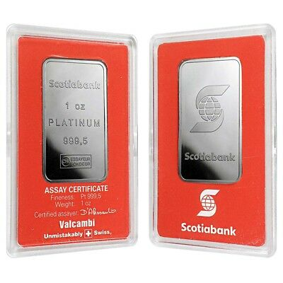 1 oz Platinum Bar - Scotiabank Valcambi Suisse .999+ Fine (In Assay)