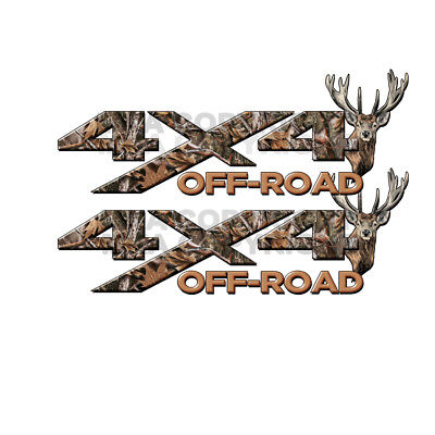 Camo 4 X 4 Decals (4x4 OFF ROAD REAL Camo TREE Deer Head TRUCK Decal Sticker!!  CHEVY FORD )