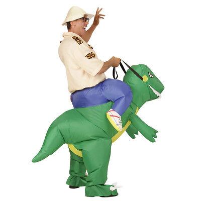 AUFBLASBARES DINO KOSTÜM # Entdecker Forscher Urzeit Safari Saurier Reiter - Entdecker Kostüm