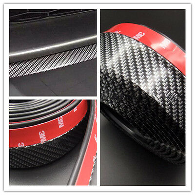 Universal 2.5M Carbon Fiber Effect Car Front Bumper Spoiler Splitter Rubber Lip