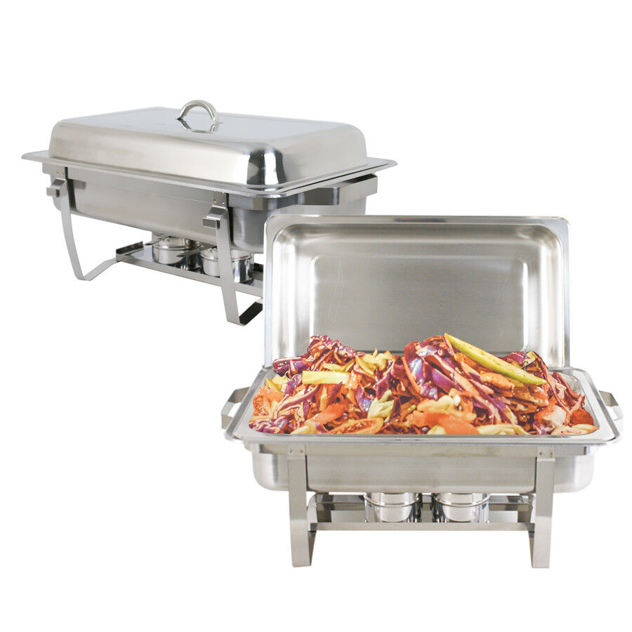 New 2 Pack of 8 Quart Stainless Steel Rectangular Chafing Dish Full Size Business & Industrial
