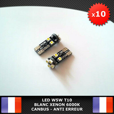 10 Veilleuses LED W5W T10 Canbus ANTI ERREUR ODB Blanc XENON 8 SMD voiture moto d'occasion  Expédié en Belgium