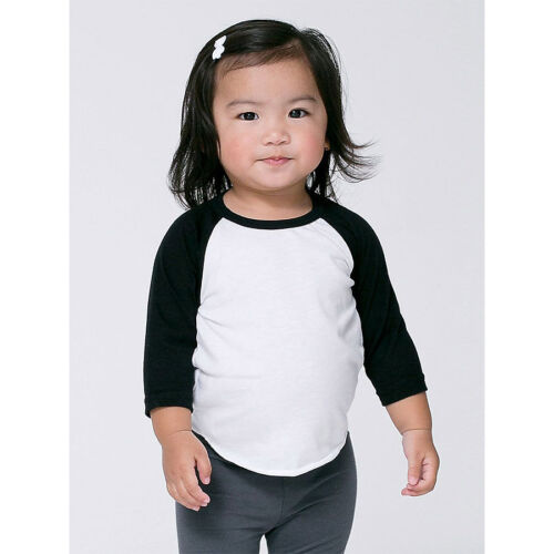 American Apparel Infant Poly-Cotton 3/4 Sleeve raglan baseball toddler BB053