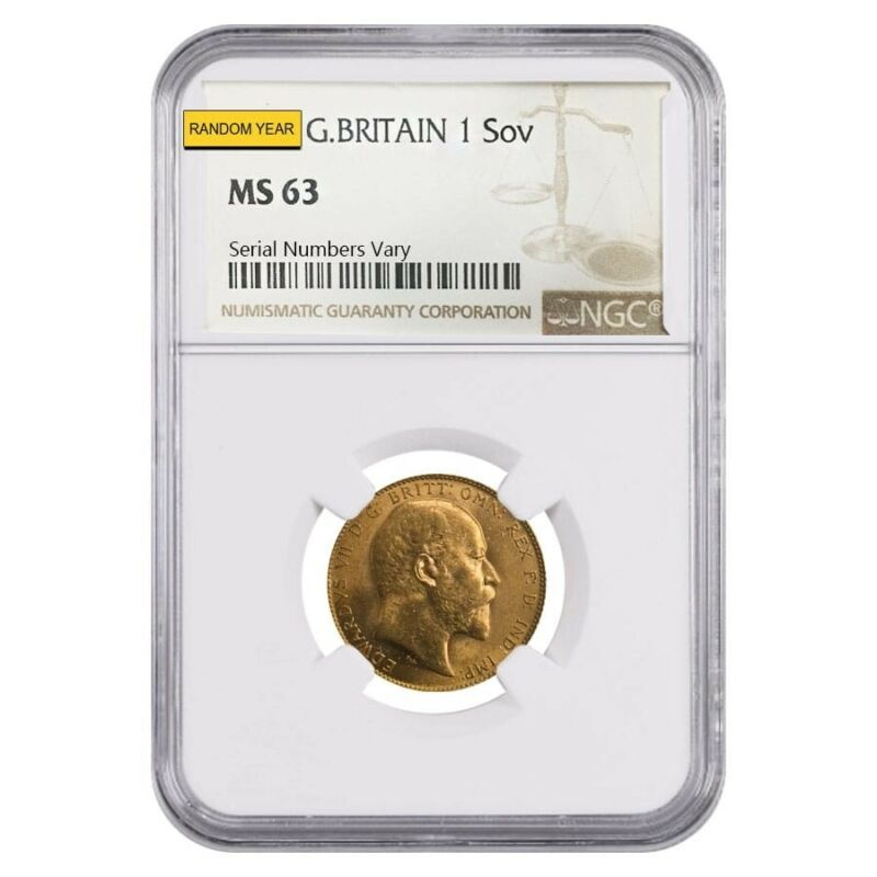 Gold Sovereign Coin NGC/PCGS MS 63 (Random Year)
