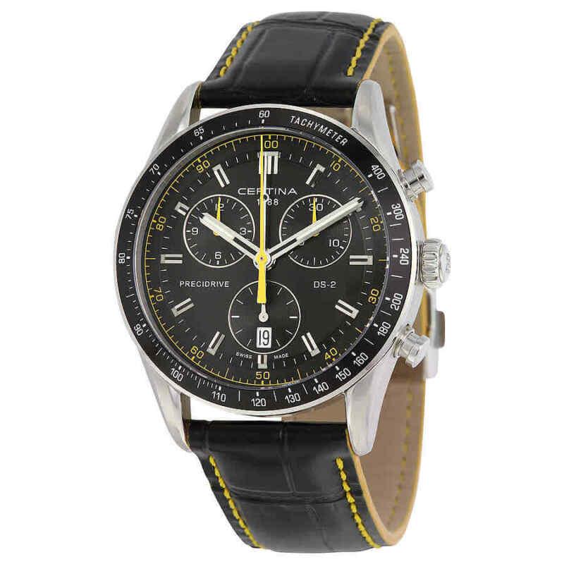 Certina DS - 2 Quartz Chronograph Black Dial Black Leather Men Watch