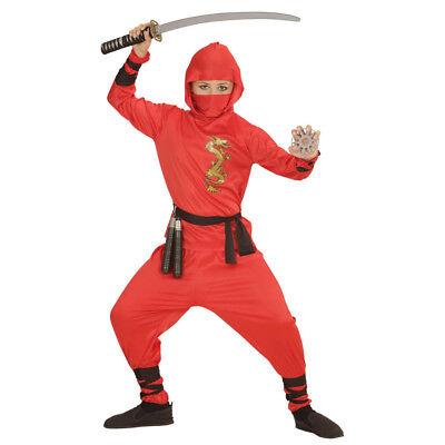 NINJA KOSTÜM KINDER ROT Karneval Fasching Samurai Krieger Kämpfer Jungen # 0133