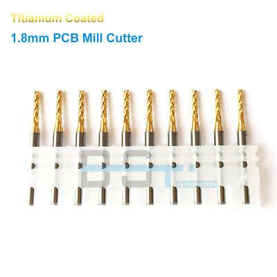 10pcslot 3.175mm Shank 1.8mm Titanium Coated Carbide Pcb End Milling Cutter