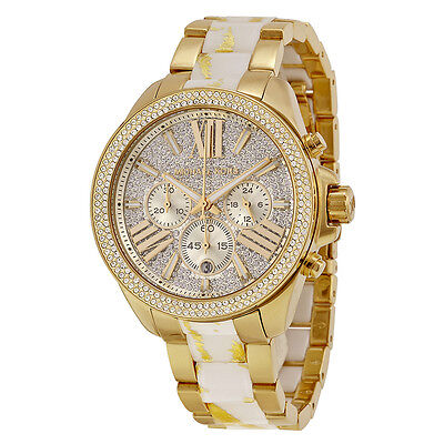 Michael Kors MK6157 Wren Gold Tone Crystal Chronograph Quartz Watch FreeShipping