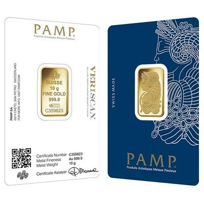 10 Gram Gold Bar Pamp Suisse Lady Fortuna Veriscan  9999 Fine  In Assay