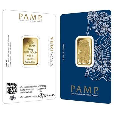 10 gram Gold Bar PAMP Suisse Lady Fortuna Veriscan .9999 Fine (In Assay)