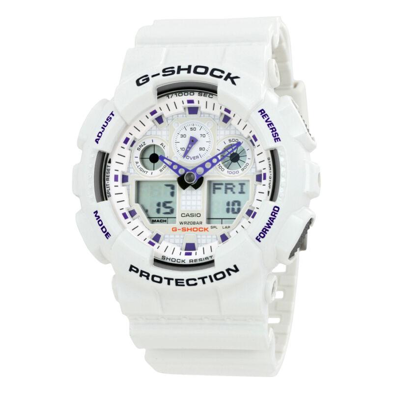 Casio G Shock Analog Digital White Dial White Resin Strap Mens Watch GA100A-7