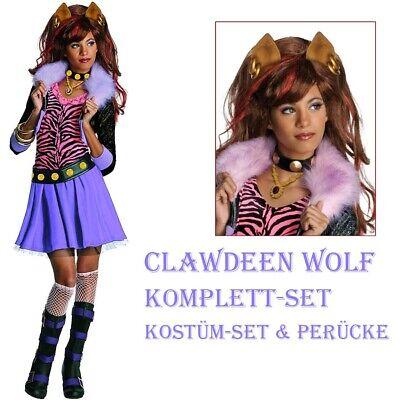 Clawdeen Wolf KOSTÜM & PERÜCKE Monster High Karneval Kinder Katzen Tiger - Monster High Wolf Mädchen Kostüm