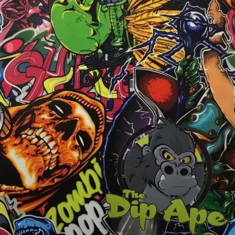 HYDROGRAPHIC FILM HYDRO ZOMBIE POP STICKER BOMB WATER TRANSFER DIP APE