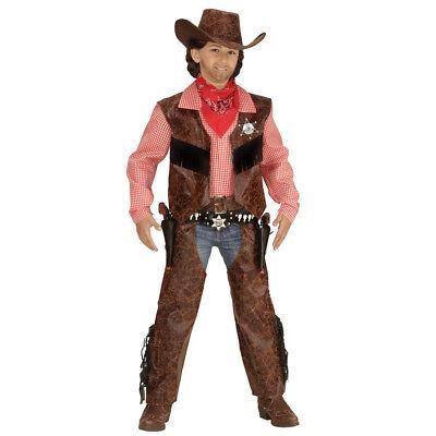 KINDER COWBOY KOSTÜM Karneval Fasching Jungen Western Verkleidung Hut Chaps - Kind Western Cowboy Kostüm