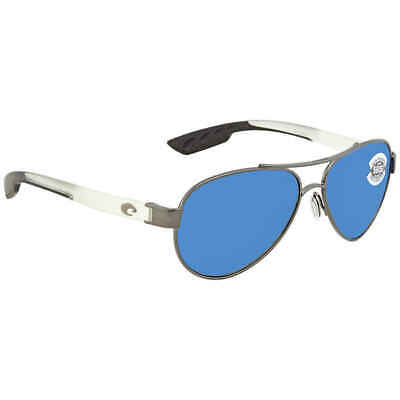 Costa Del Mar Loreto Blue Mirror Glass Aviator Sunglasses LR 74 (Blue Mirrored Aviator Sunglasses)