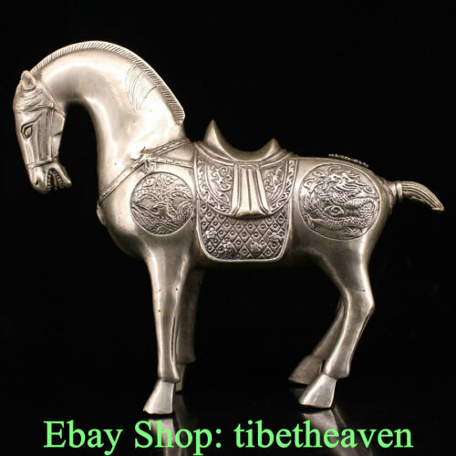 "9.6"" Old China Silver Feng Shui 12 Zodiac Year Tang Horse Success Sculpture"