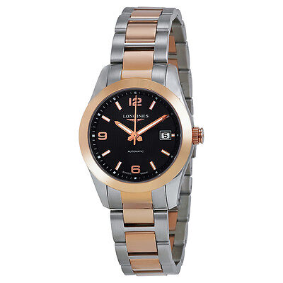 Longines Conquest Classic Black Dial Stainless Steel and 18kt Rose Gold Ladies