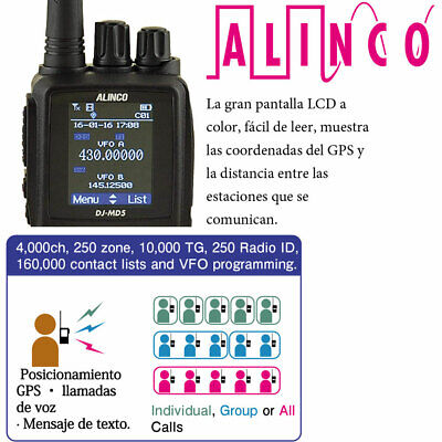 ALINCO DJ-MD5-EGP - Bibanda, DMR, FM, GPS - 2m/70cm