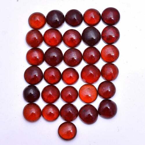 108 Cts Natural Hessonite Garnet Loose 8mm-9mm Round Cabochon Unheated Gemstones