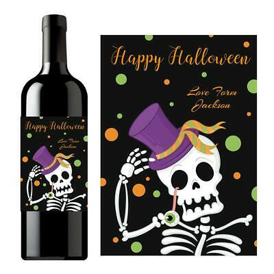 Alcoholic Halloween Treats (PERSONALISED HALLOWEEN NAME WINE ALCOHOL TRICK TREAT BOTTLE LABEL FAVOUR)