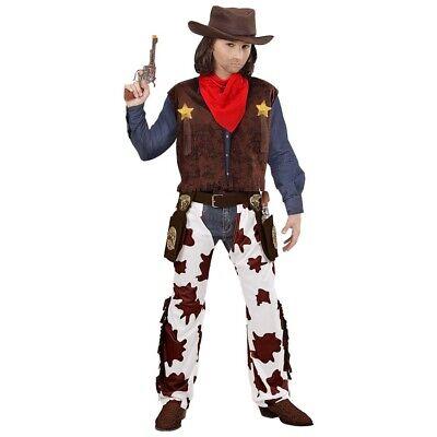 KINDER COWBOY KOSTÜM Karneval Wilder Western Jungen Sheriff Weste Chaps Hut 0727 ()
