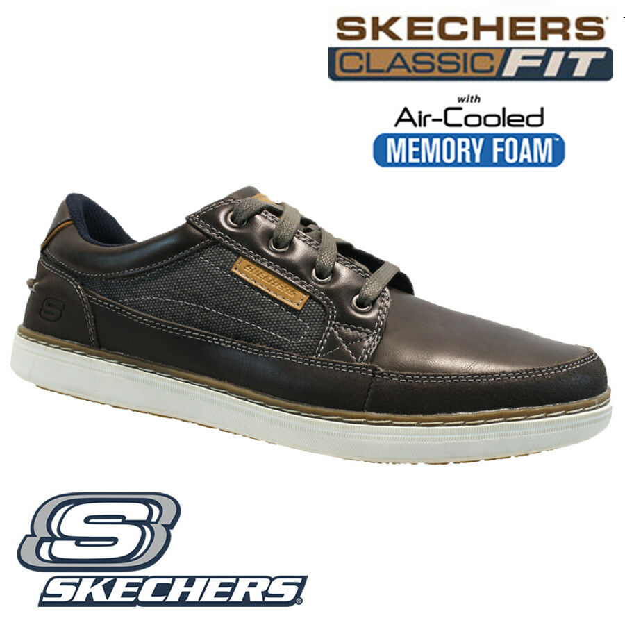 f1d45d9fc56 MENS SKECHERS LEATHER CLASSIC FIT MEMORY FOAM WALKING ANKLE TRAINERS SHOES  SIZE