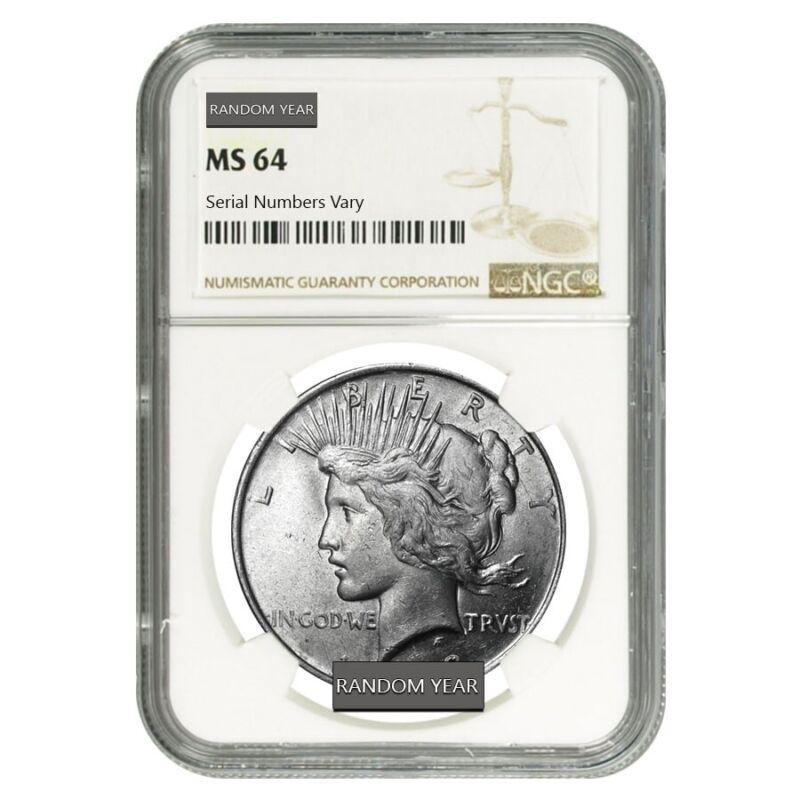 Peace Silver Dollar $1 NGC MS 64 (Random Year, 1922-1935)