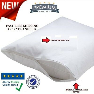 4 Pack King Size Zippered Pillow Protector Stain Resistant COTTON Case Cove (Bed King Pillow Protector)