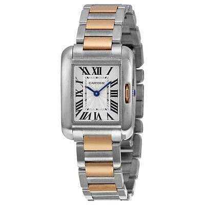 Cartier Tank Anglaise Small Silver Dial 18 kt Rose Gold and Steel Ladies Watch