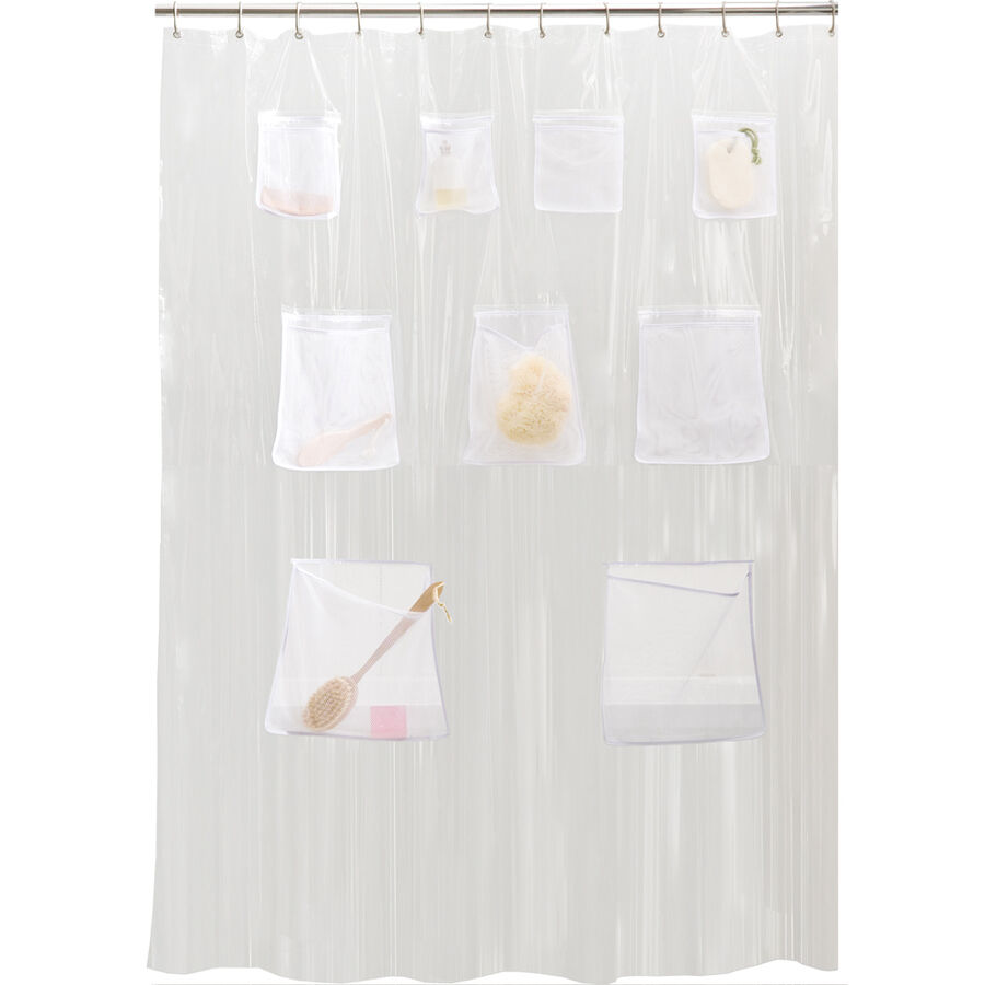 PEVA Vinyl Shower Curtain Liner With Mesh Pockets - Assorted Colors ...