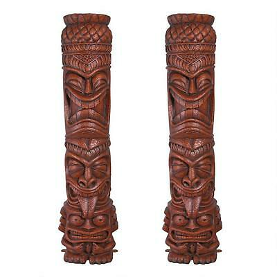 Set of 2: Polynesian Tiki Totem Gods Statue Pool Spa Tropical Island Luau 77""