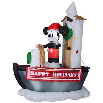 CHRISTMAS 6.99' TALL AIRBLOWN INFLATABLE DISNEY MICKEY MOUSE STEAMBOAT WILLIE - Inflatable Willies